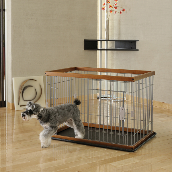 2 Way Door Pet Pen with Floor Tray - Brown/Black