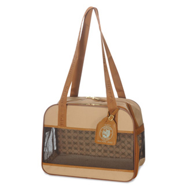 Amelia Collection Dog Tote - Sand w/ Tan Trim