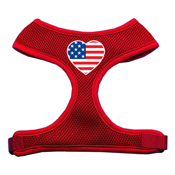 American Flag Heart Dog Harness - Red