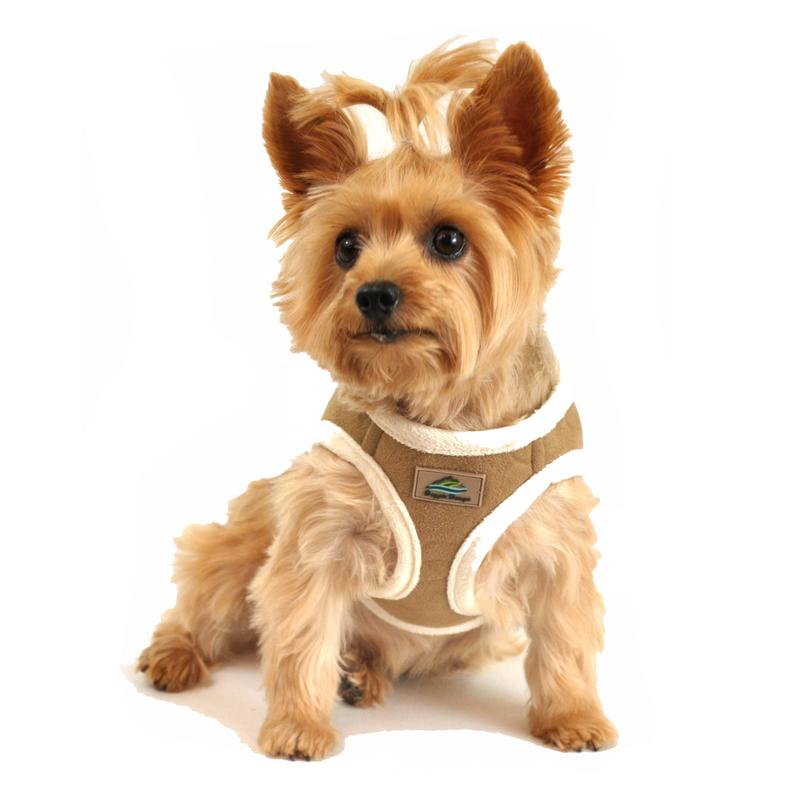 American River Choke Free Dog Harness - Beige Suede and Cream Minky Fur