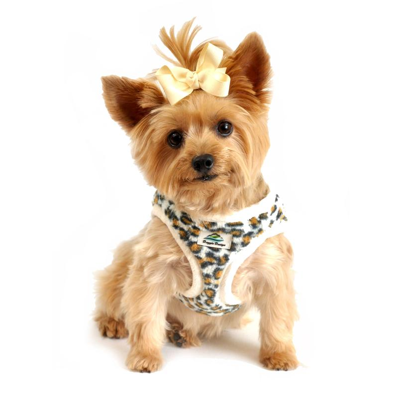 American River Choke Free Dog Harness - Leopard and Cream Minky Fur
