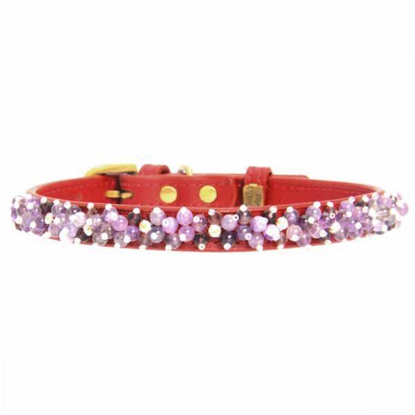 Amethyst Mini Beads Leather Dog Collar - Red