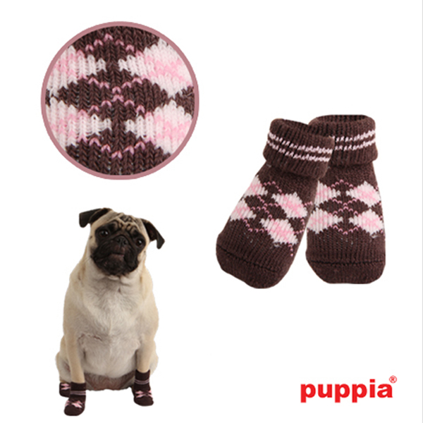 Argyle Dog Socks by Puppia - Brown