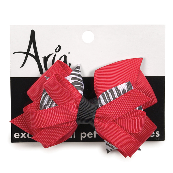 Aria Red and Zebra Print Dog Bow