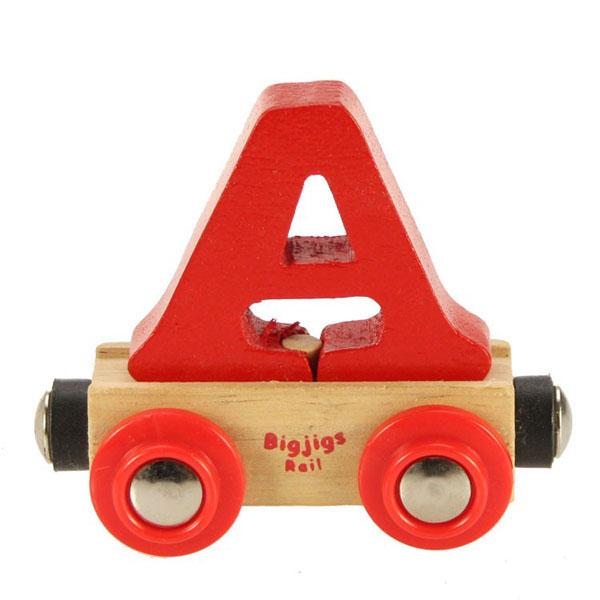 bigjigs wooden railway rail name train letter a at toystop