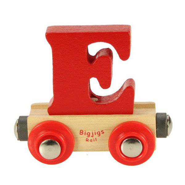 bigjigs wooden railway rail name train letter e at toystop
