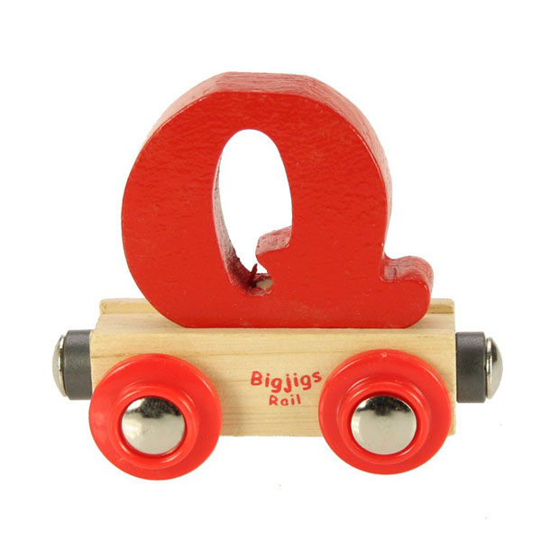 bigjigs wooden railway rail name train letter q at toystop