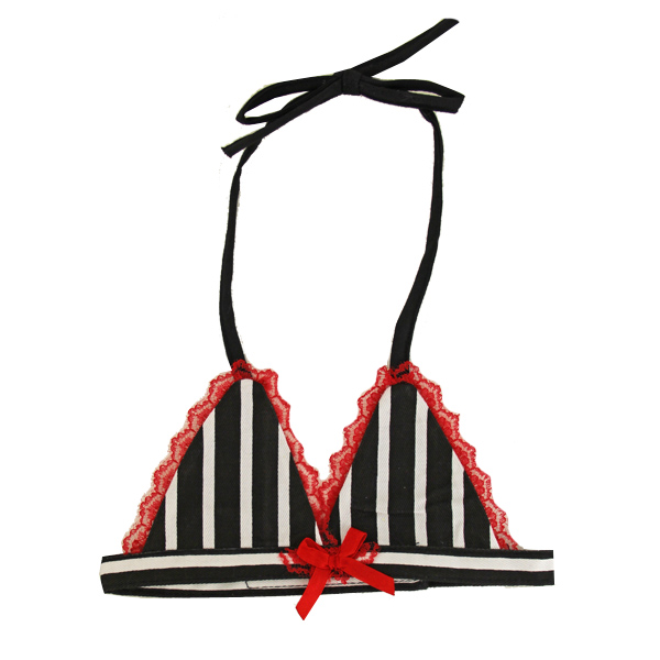 Black & White Striped Dog Bra Bikini Top