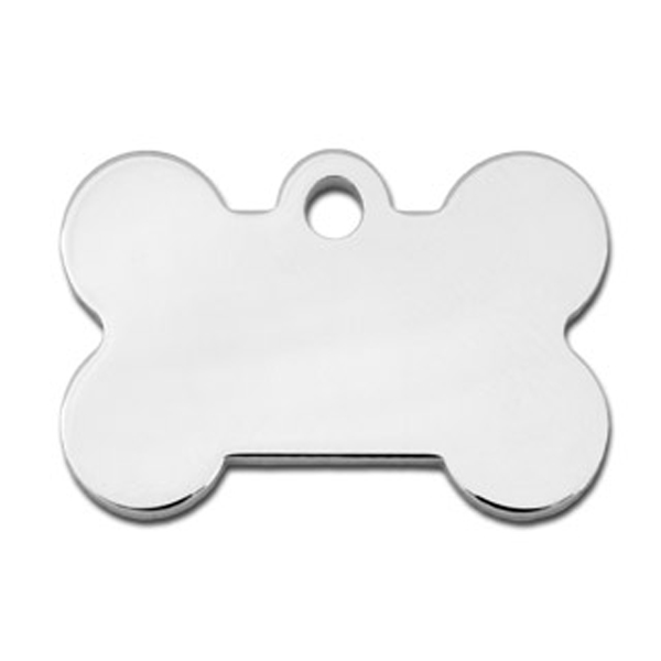 Bone Small Engravable Pet I.D. Tag - Chrome