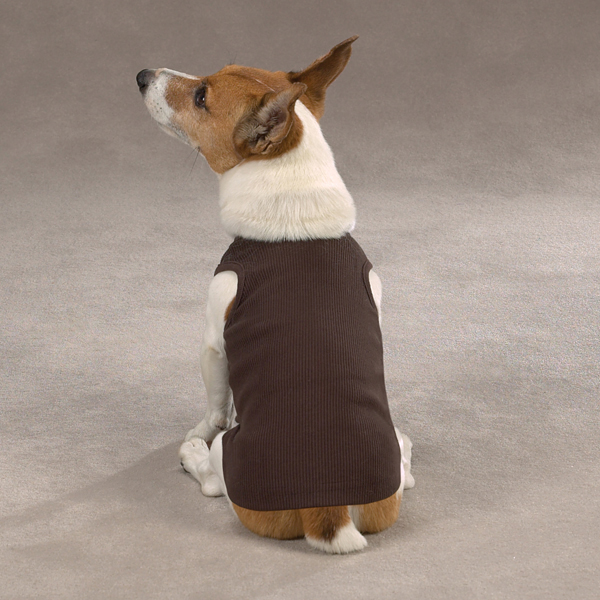 Casual Canine Basic Ribbed Dog Tank Top - Chocolate