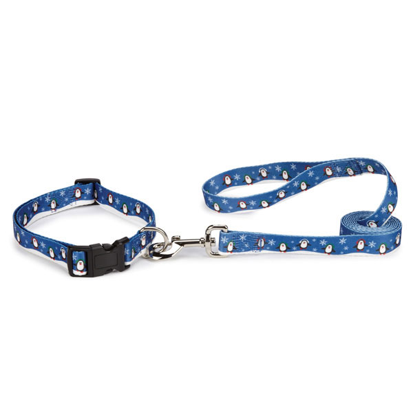 Holly Jolly Dog Collar & Lead Set - Penguins