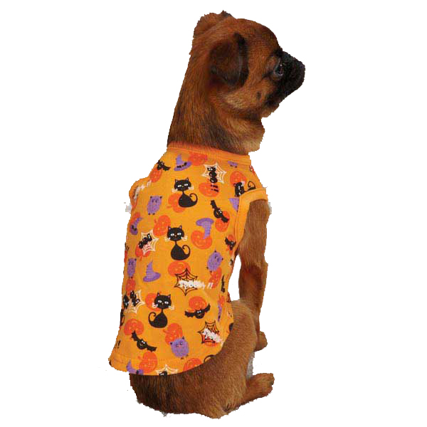 Casual Canine Spooky Dog Tank Top - Orange