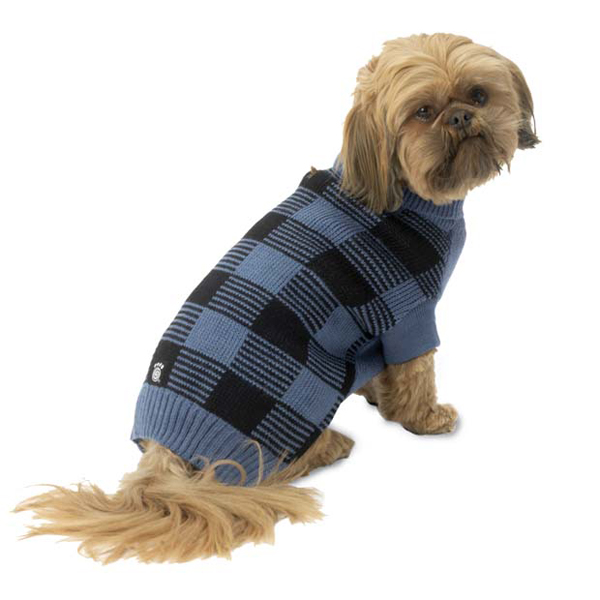Checker's Dog Sweater - Blue and Black