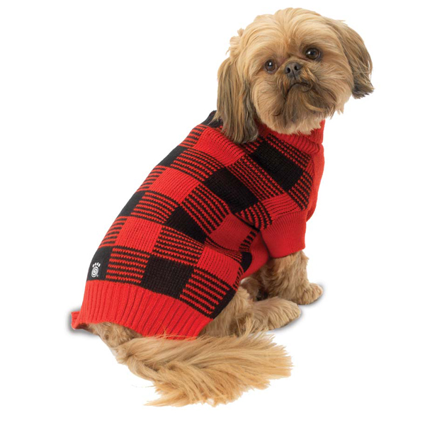 Checker's Dog Sweater - Red and Black