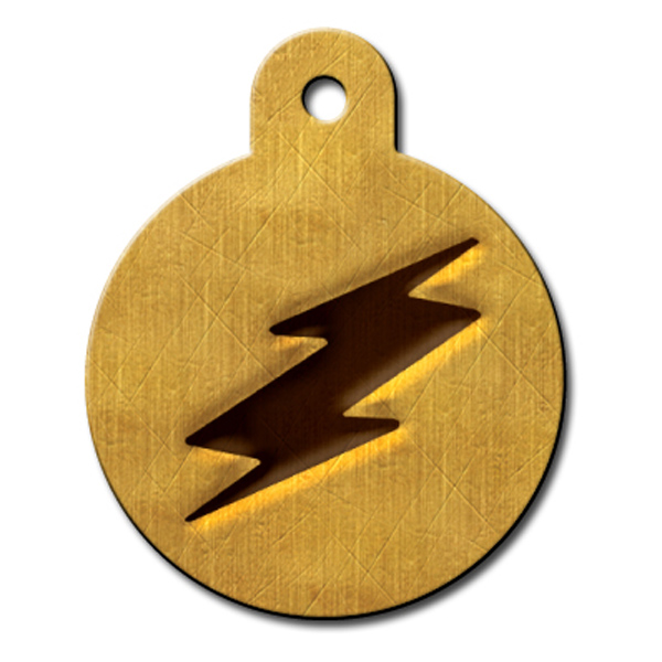 Circle Large Engravable Pet I.D. Tag - Lightening Bolt