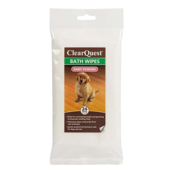 ClearQuest Pet Bath Wipes - Baby Powder