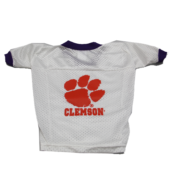 Clemson Tigers White Dog Jersey - Paw with Clemson