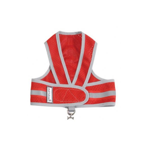 Cloak & Dawggie Reflective Mesh Step-N-Go Harness - Red