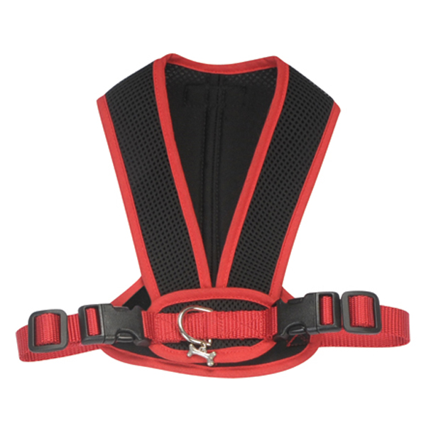 Cloak & Dawggie Snap-N-Go Dog Harness - Black Mesh with Red Trim