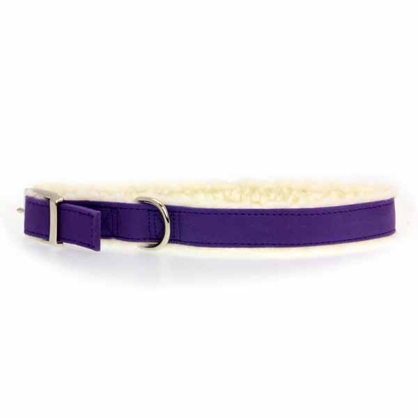 Cozy Sherpa Dog Collar by East Side Collection - Ultra Violet