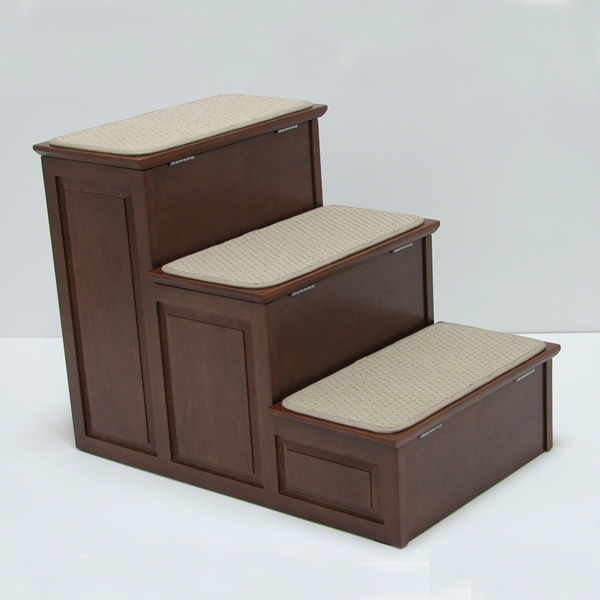Crown Designer Pet Steps with Storage - Mahogany