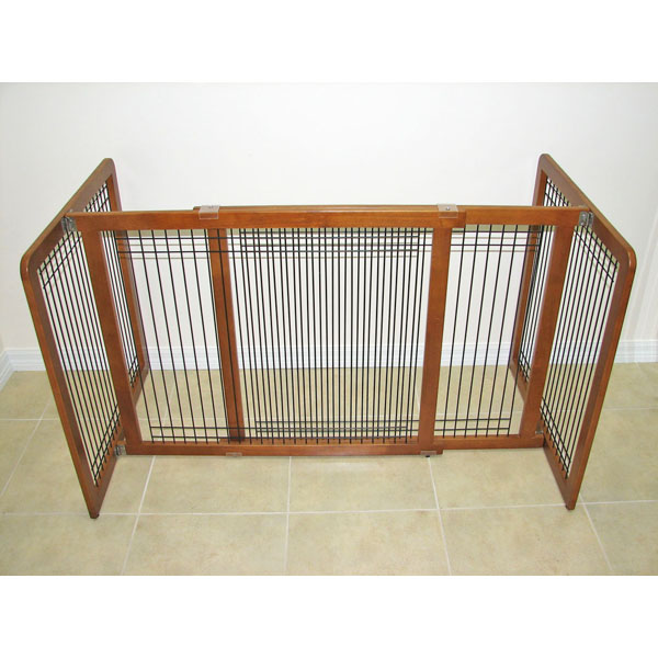 Crown Wood-Wire 30inch Height Pet Gate - Chestnut Brown