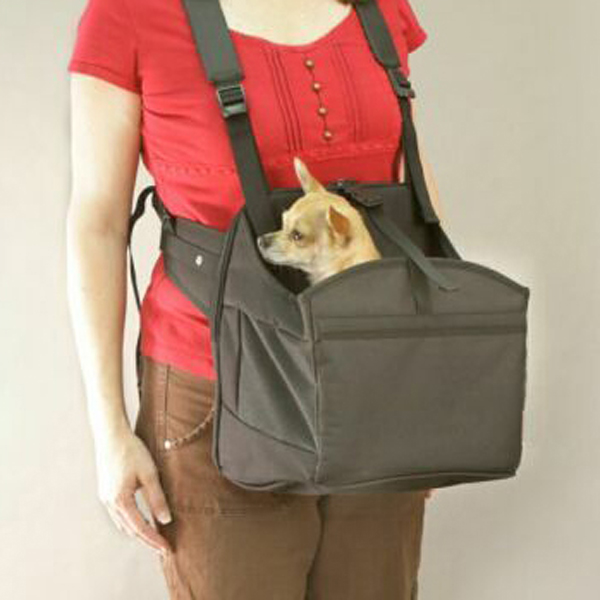 Deluxe PetPocket Dog Carrier Sling - Solid Black