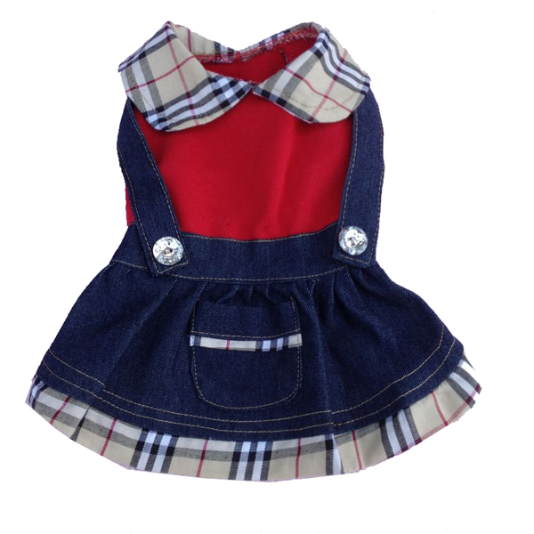 Denim Overall Dog Dress with Plaid Trim