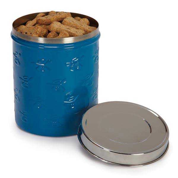 Dog is Good Embossed Stainless Steel Dog Treat Canister - Ocean