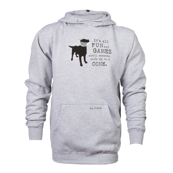 Dog is Good Fun and Games Human Hoodie - Gray