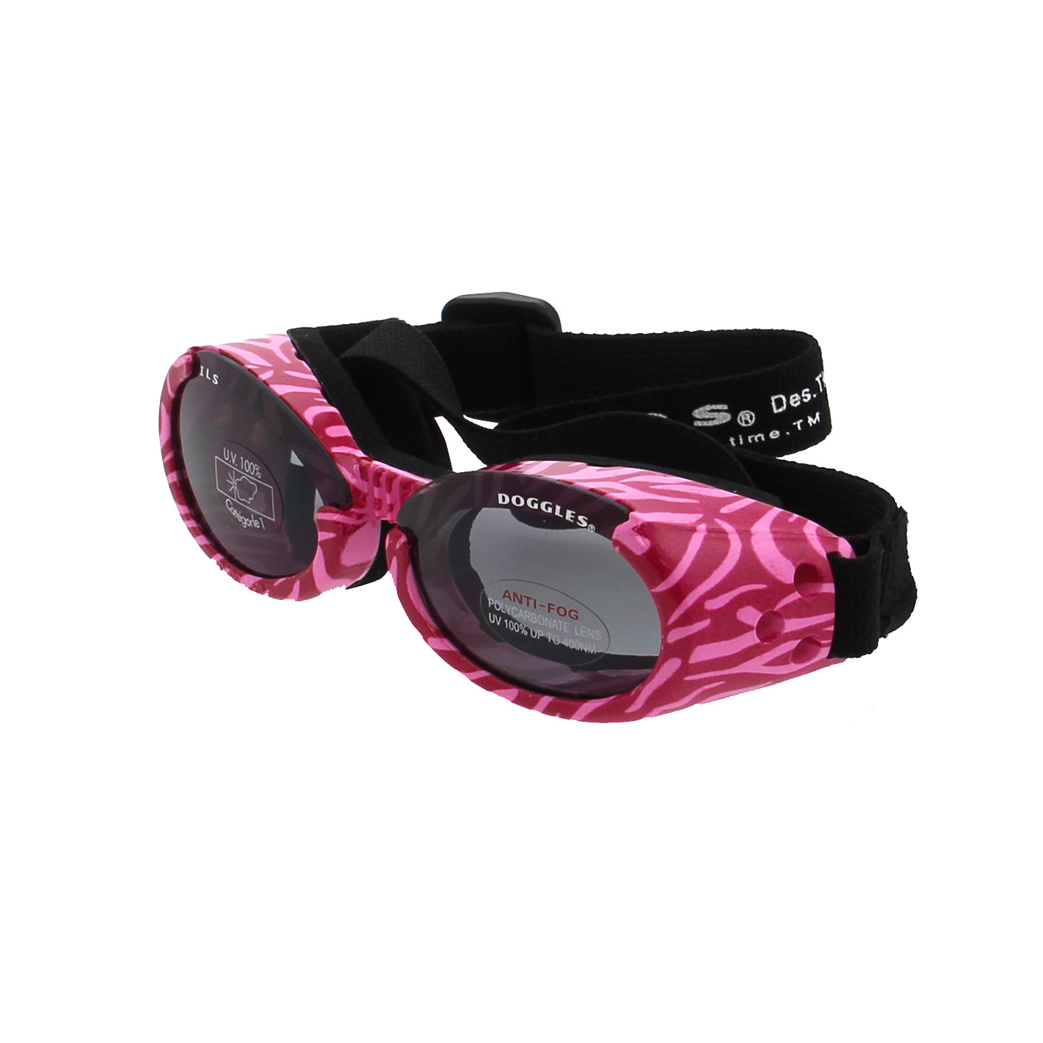 Doggles - ILS Pink Zebra Frame with Smoke Lens