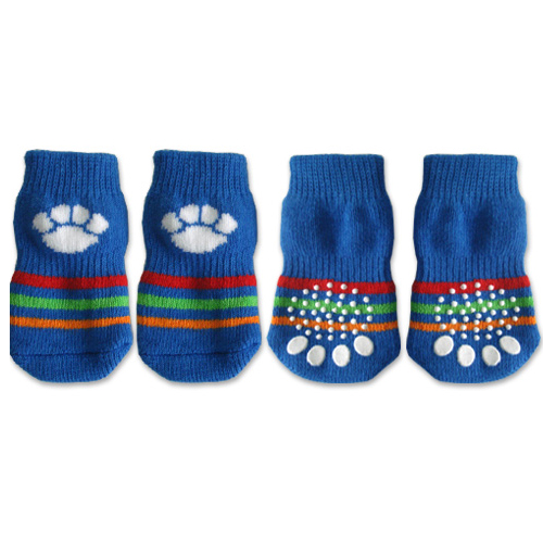 Doggy Socks - Blue with White Paw Print