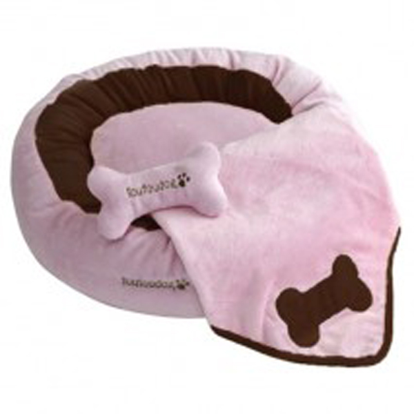 Donut 3-Piece Dog Bed Set - Pink/Brown