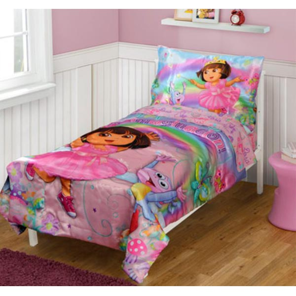 Dora The Explorer Bedding 4 Piece Satin Toddler Bedding