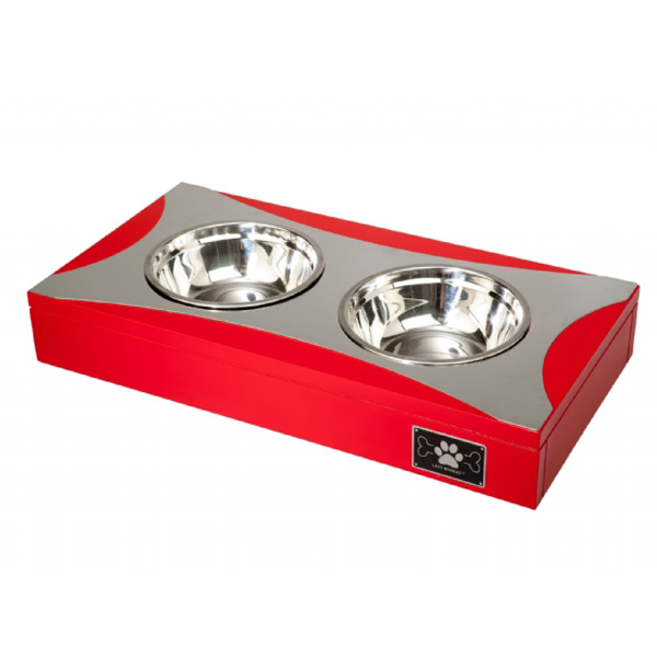 Double Feeding Dog Dish - Fire Red