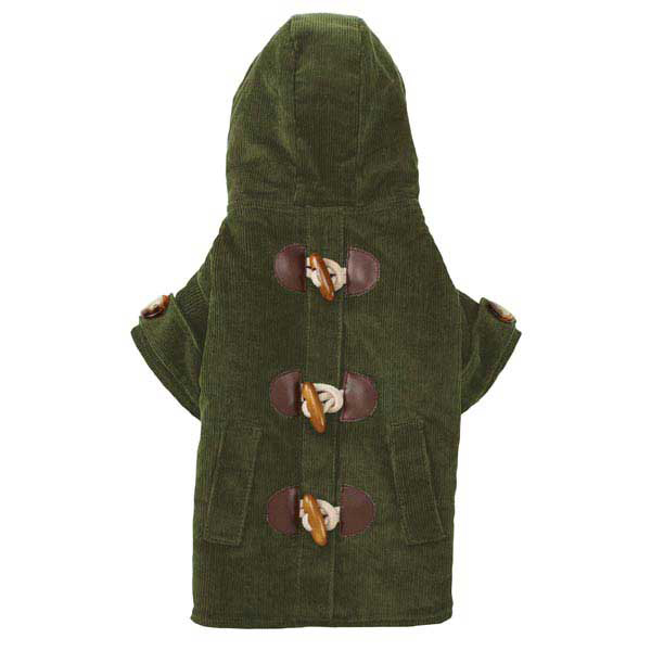 East Side Collection Corduroy Toggle Dog Coat - Chive