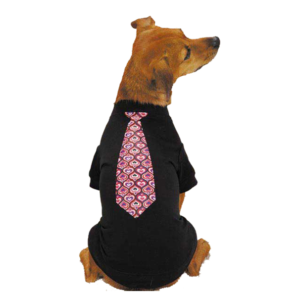 Full of Heart Tie Dog T-Shirt- Black