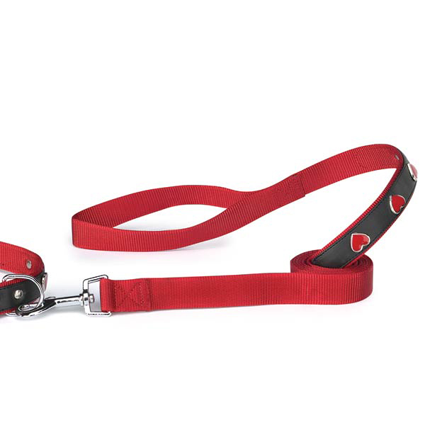 East Side Collection Heart Charm Dog Leash - Red & Black