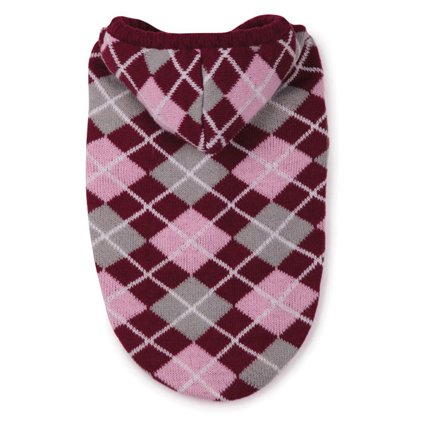 East Side Collection Hooded Argyle Dog Sweater - Raspberry