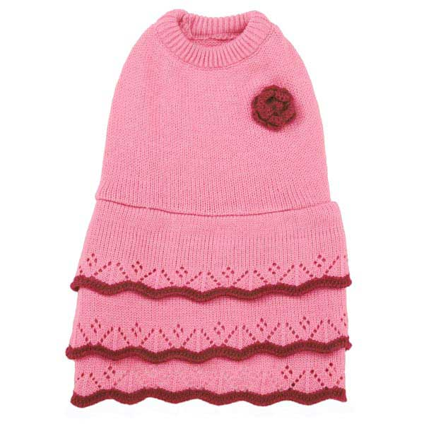 East Side Collection Pointelle Knit Dog Dress - Pink