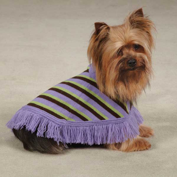 East Side Collection Preppy Dog Poncho - Violet