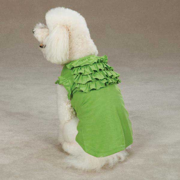 East Side Collection Tiered Ruffle Dog T-Shirt - Parrot Green
