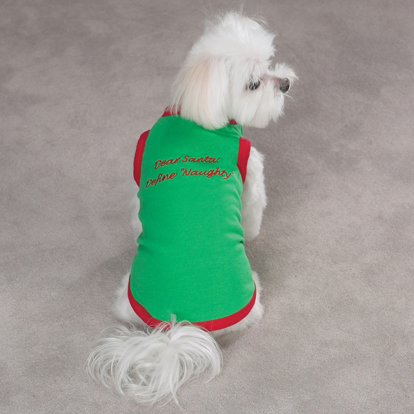 Embroidered Santa Pullover Tee 'Dear Santa, Define Naughty' - Green