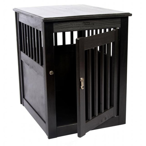 End Table Dog Crate - Black
