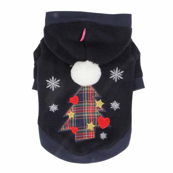 Festive Holiday Dog Hoodie by Pinkaholic- Navy