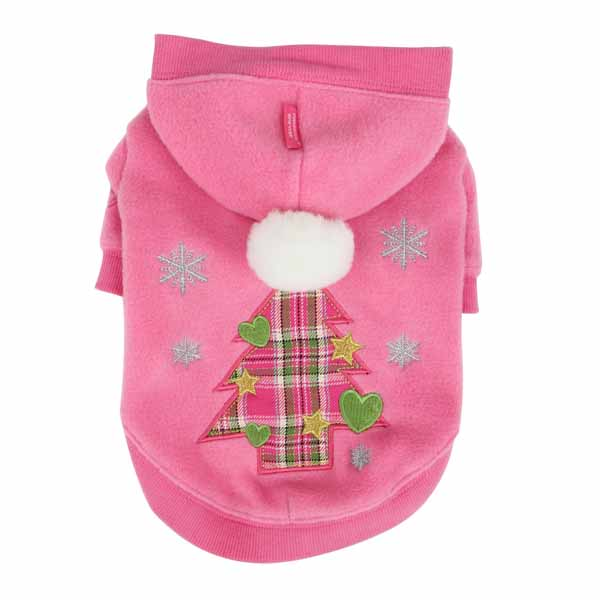 Festive Holiday Dog Hoodie by Pinkaholic- Pink