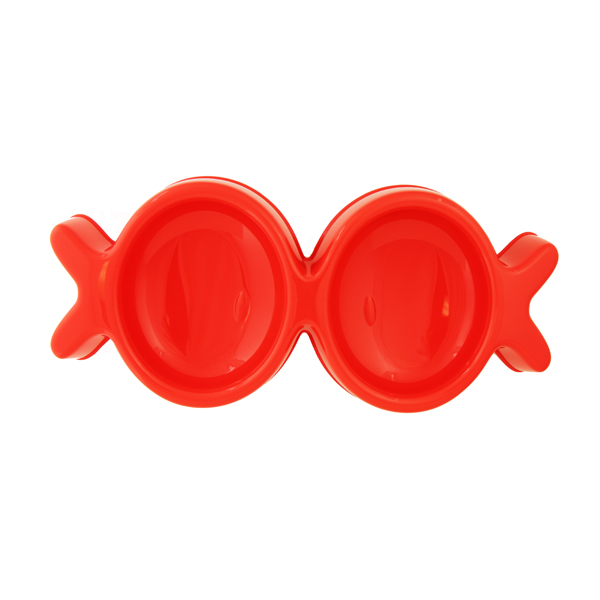 Fish Kiss Double Dog Bowl - Red