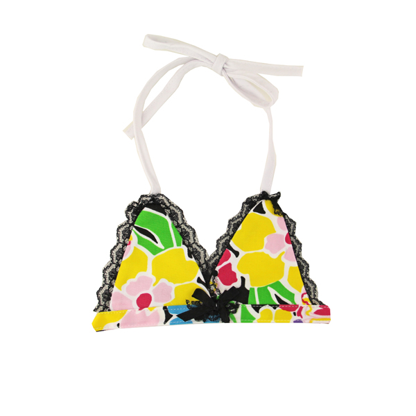 Flower Print Dog Bikini Top