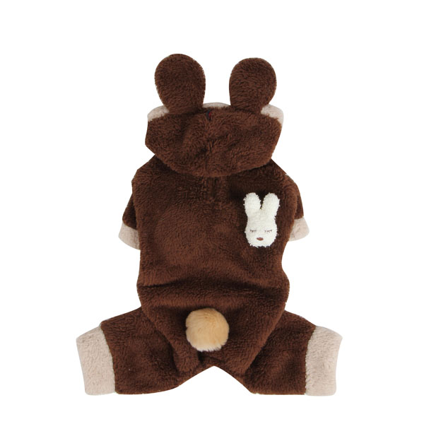Fluffy Bunny Dog Jumpsuit by Puppia - Brown