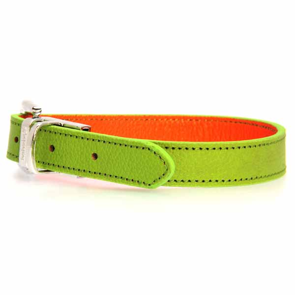 FouFou Reversible Dog Collar - Green/Orange